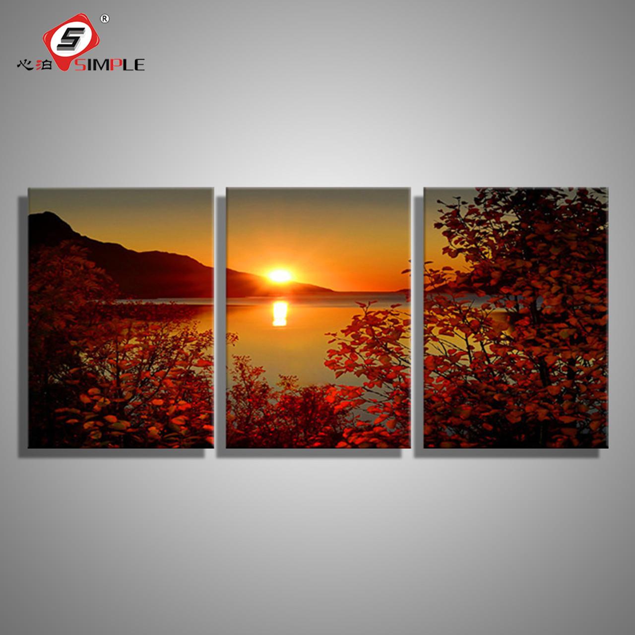 SIMPLE Oil Painting Canvas Lake Sunset Landscape Wall Art Decoration Prints Home Decor Modern Picture