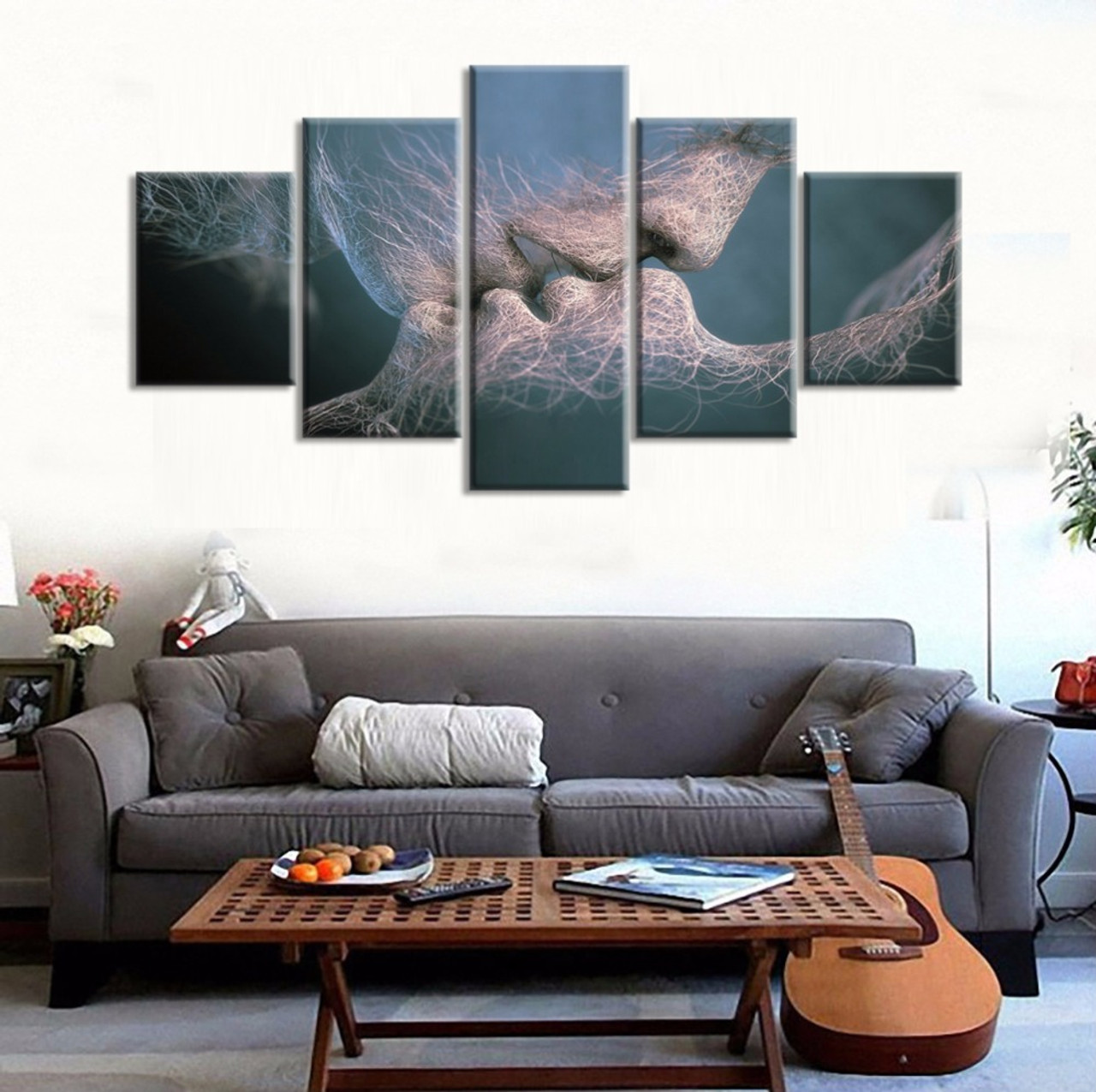 5 Piece canvas painting Anime Love Kissing painting Has framework or unframed Wall art pictures home ... & 5 Piece canvas painting Anime Love Kissing painting Has framework or ...