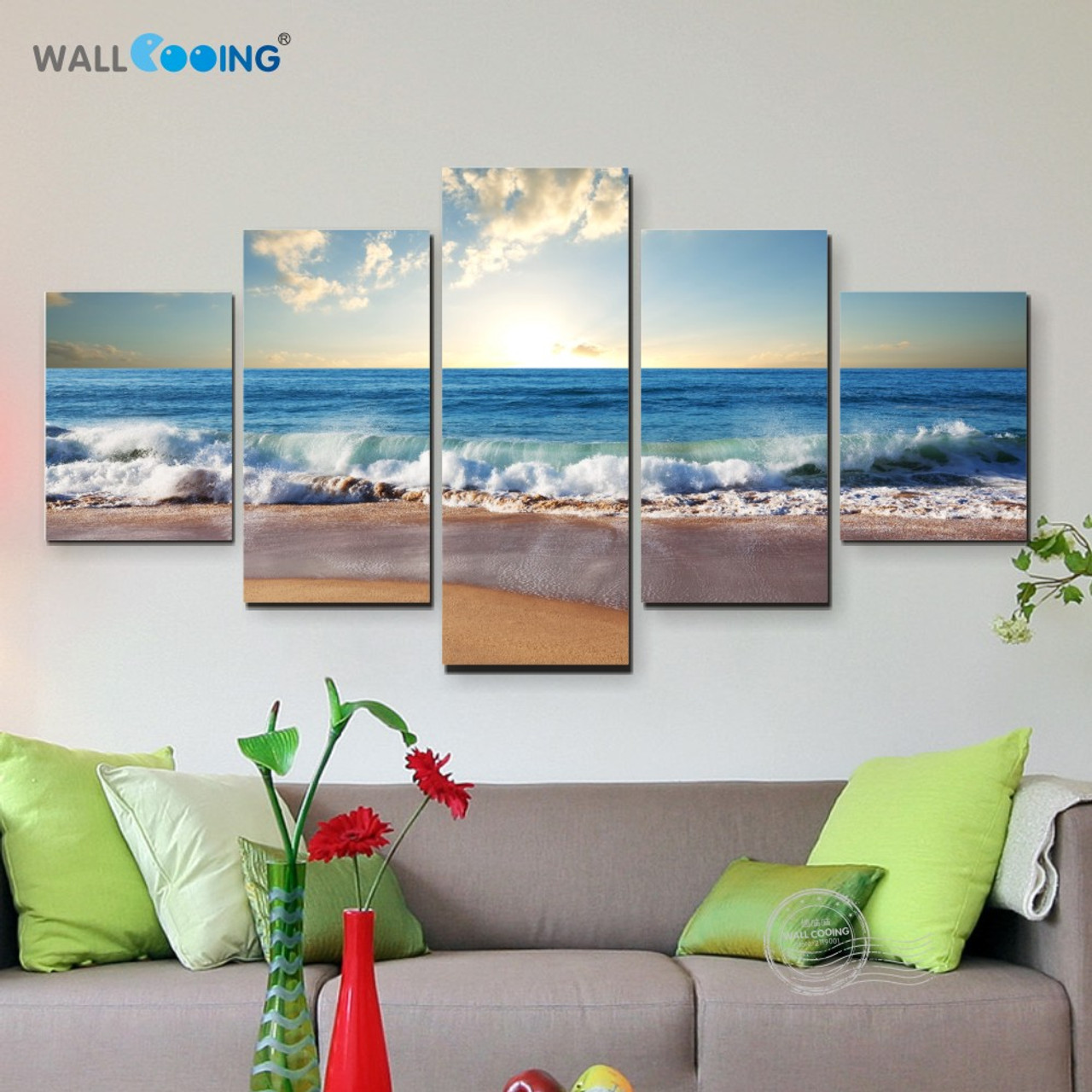 5 piece canvas art picture modular Sea painting modern pictures on ...