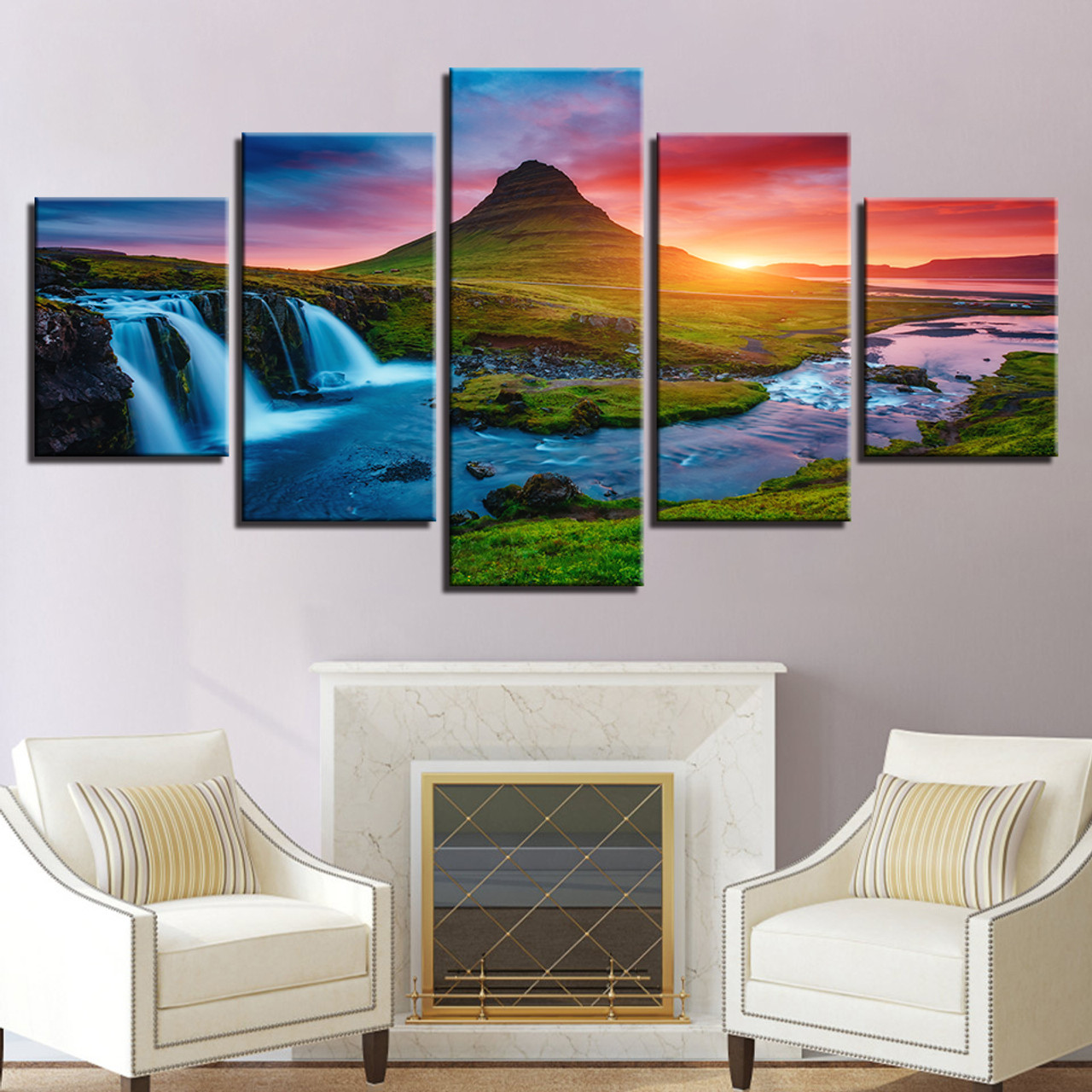 Wall art canvas prints pictures 5 pieces beautiful iceland waterfall paintings green mountain river landscape posters