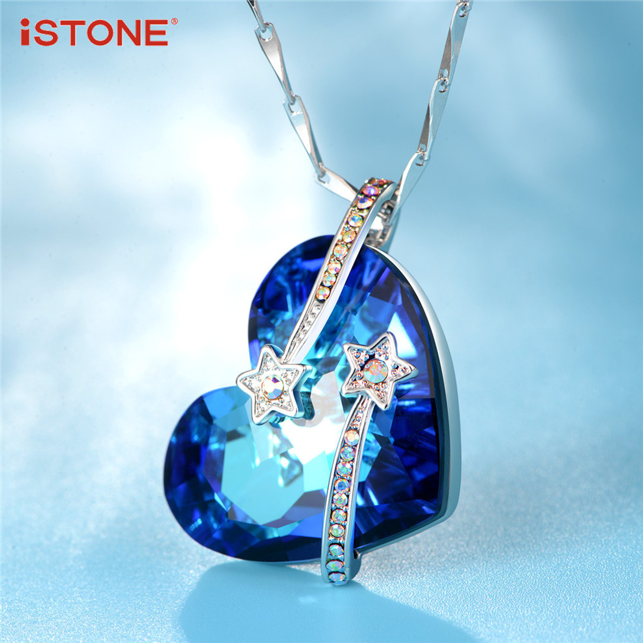 Istone blue crystal heart of sea pendant necklaces with 925 sterling istone blue crystal heart of sea pendant necklaces with 925 sterling silver necklace natural gemstone fine aloadofball Choice Image