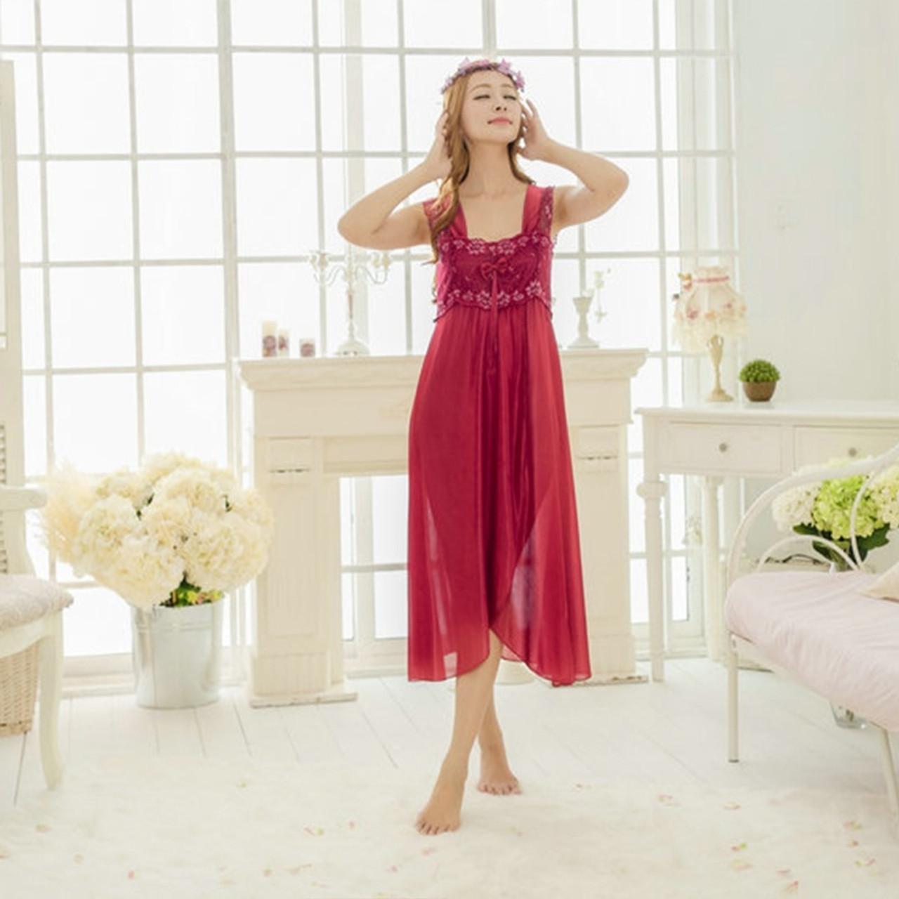 2016 Summer NEW Female Silk Sleepwear Lace Dressing Gowns Sweet ...