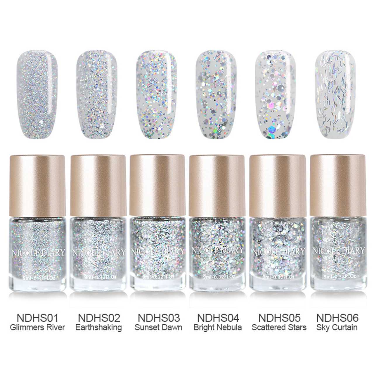 NICOLE DIARY 9ml Oil Based Holographic Silver Holo Glitter Nail ...