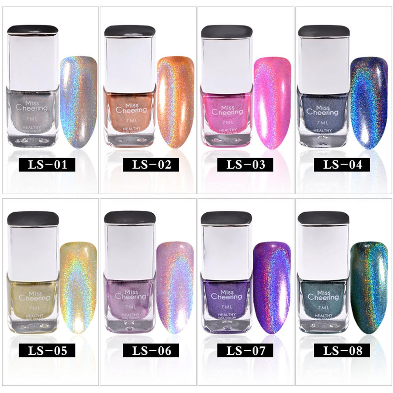 Misscheering 1 Bottle 7ml Laser Nail Polish Holographic Glitter ...
