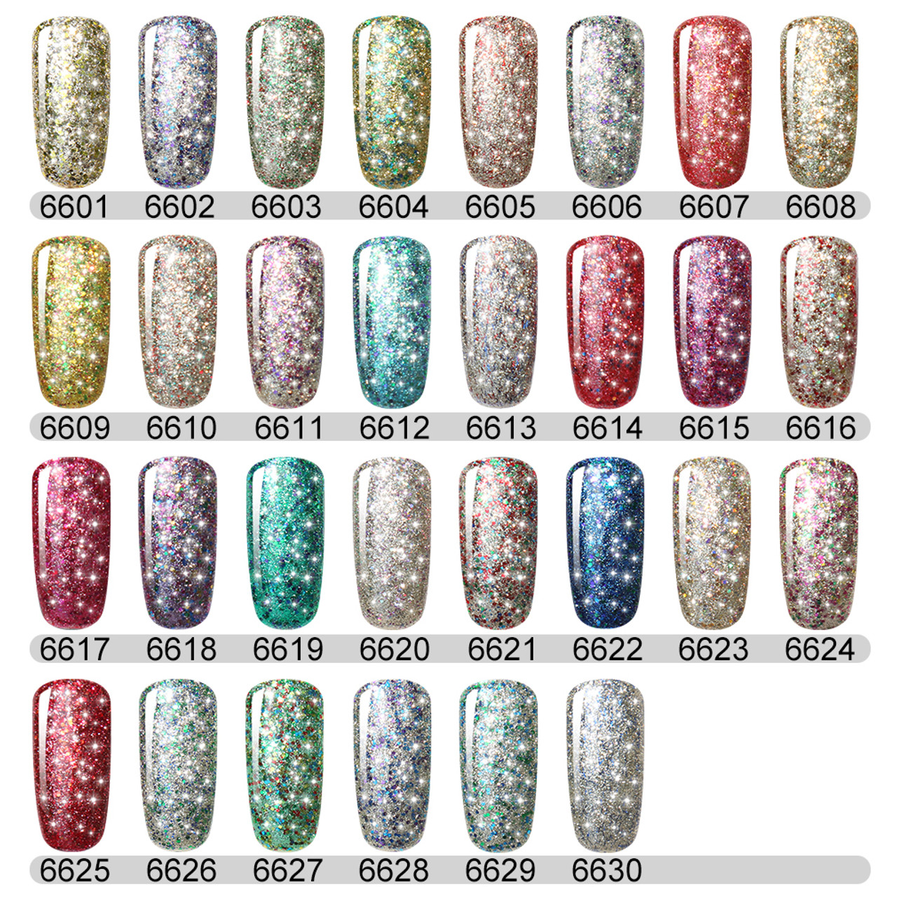 FairyGlo Bling Glitter Nail Polish 10ML Soak Off UV LED Lamp Gel ...