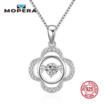 Mopera Authentic 925 Sterling Silver Necklace Leaf Circle Crystal Clear CZ Wedding Pendant Necklace For Women Fine Jewelry