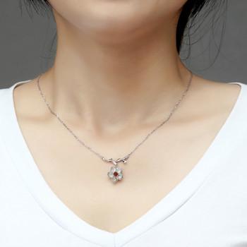 Mopera Genuine 925 Sterling Silver Handmade Designer Fine Jewelry Flower Necklace with Pendant for Women Garnet Fashion Jewelry
