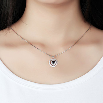 Mopera New Sterling 925 Silver Fashion Jewelry Double Crystal Love Heart Natural Black Sapphire Pendant Necklaces For Women