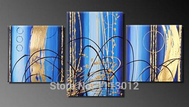 Hand Painted Modern Abstract Oil Painting Blue Line Wall Art Canvas Set 3  Panel Home Decoration Art Picture For Living Room Sale