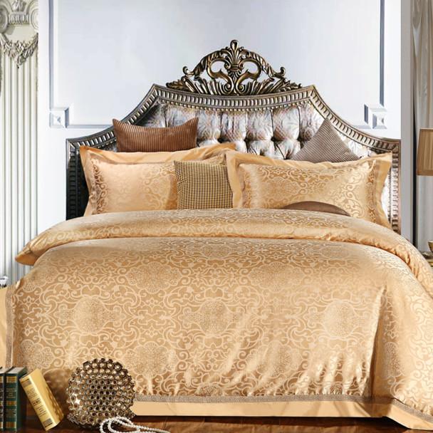 Blue Purple Gold Luxury Jacquard Bedding Set Cotton Bed Cover Bed Sheet Set  Queen King Size Duvet Cover Bed Linen Pilowcases