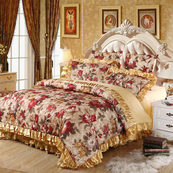 Flower Europe Jacquard Satin Cotton Bedding Set Queen King Size 4pc Or 6pcs Bed  Set (duvet Cover +quilted Bedspread+pillowcases)