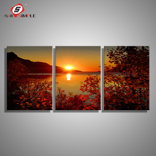 SIMPLE Oil Painting Canvas Lake Sunset Landscape Wall Art Decoration prints Home Decor Modern Wall Picture For Living Room(3PCS) & SIMPLE Oil Painting Canvas Lake Sunset Landscape Wall Art Decoration ...