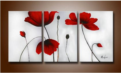 Free shipping 3 pieces fresh red poppy flowers oil painting canvas free shipping 3 pieces fresh red poppy flowers oil painting canvas set home decor at factory mightylinksfo