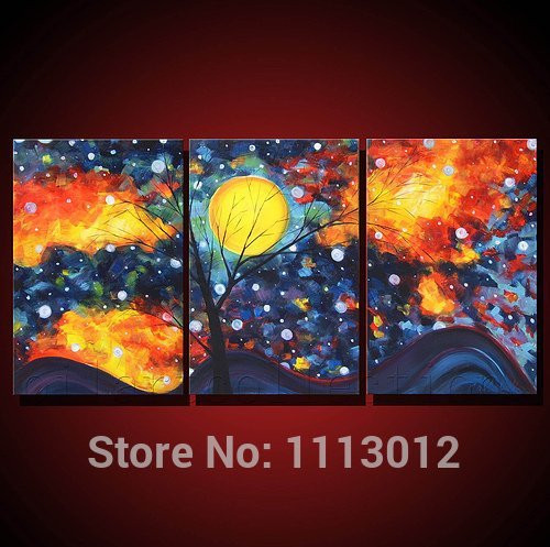 Hand Painted Modern Abstract Oil Painting Wall Art Canvas Set 3 Panel Tree  Moon Home Decoration ...