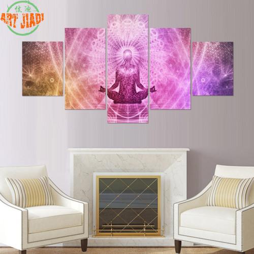 4 Piece/set or 5 Piece/set Canvas Art Chakras Buddha Paintings on ...