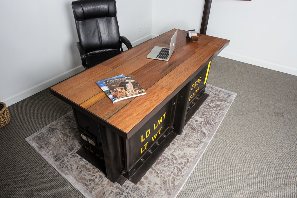 executive steel desk with mahogany wood desktop