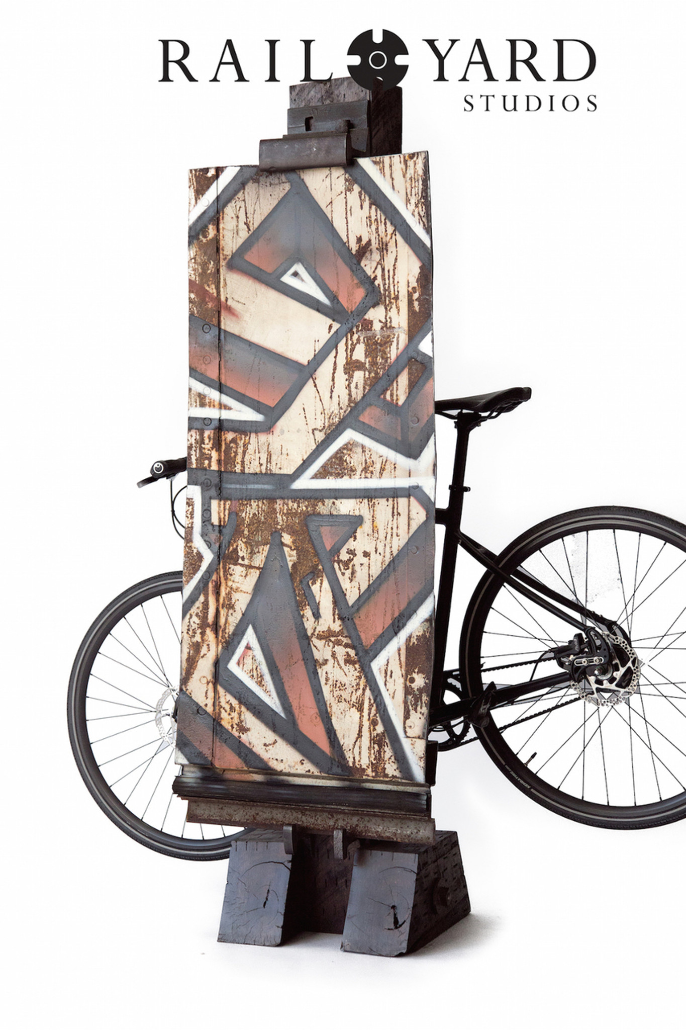 """YARD"" Graffiti & Bike Stand on Section of Steel Boxcar"