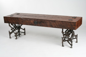 refined rustic bench with wood timber top and random iron legs from salvaged scrap metal