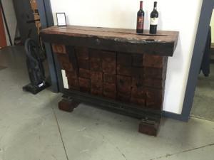 wine bar from reclaimed railroad wood cross ties and metal