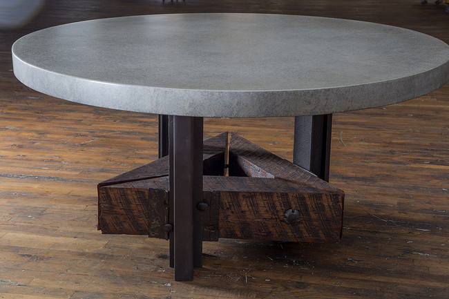 Triangle Base Table With Lightweight Round Concrete Top - Triangle conference table