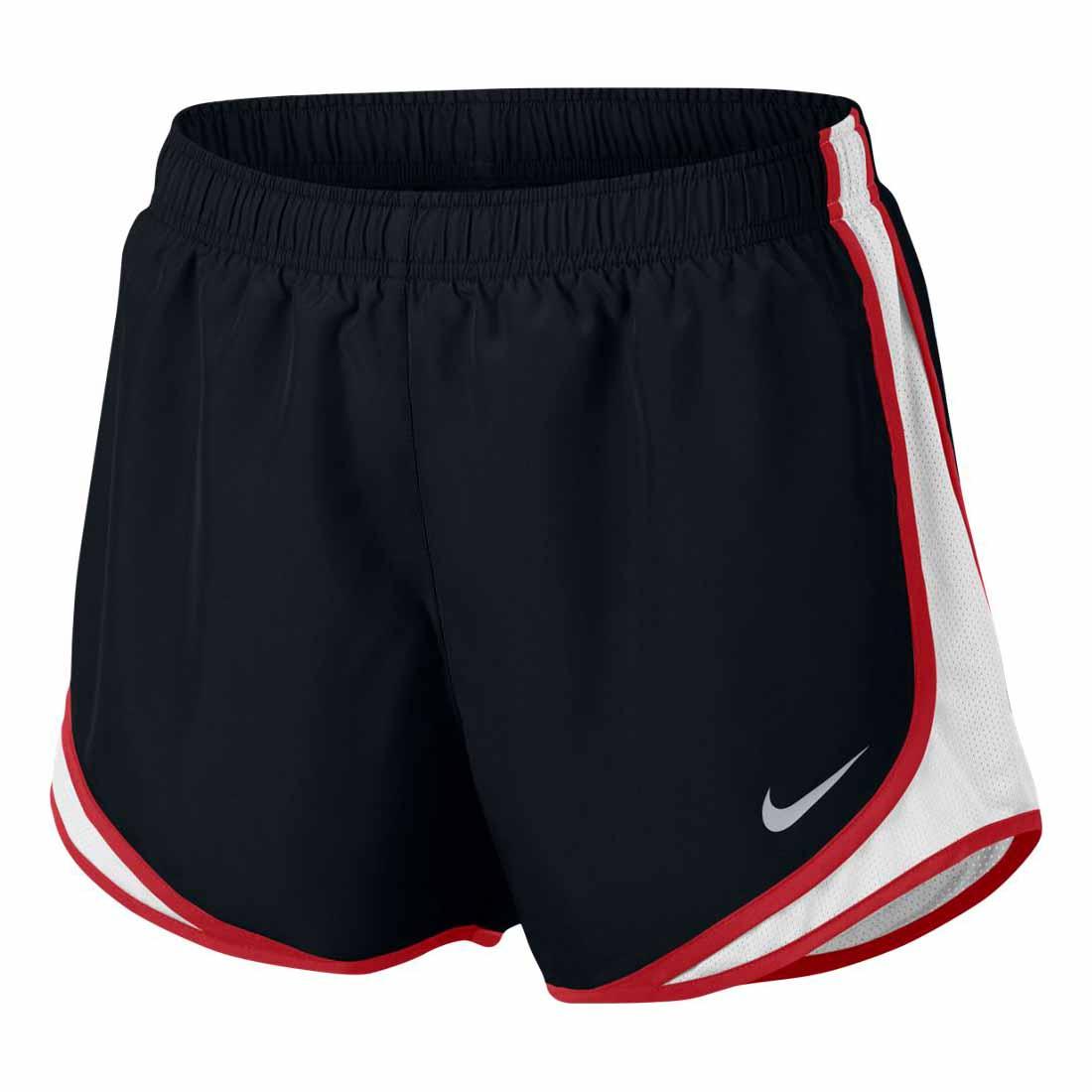 Women's Black/White/Sport Red Nike Tempo Running Shorts