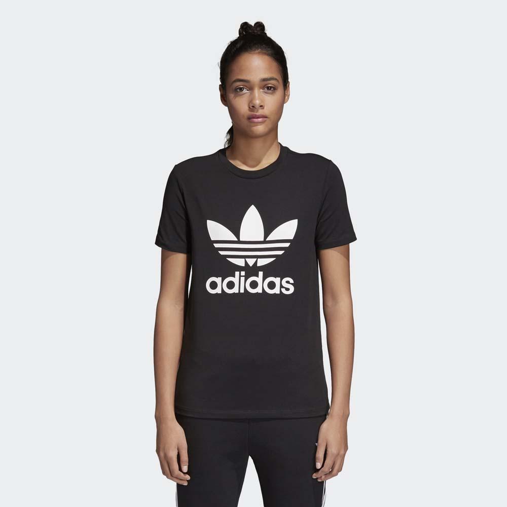 Women's Black/White adidas Trefoil Tee