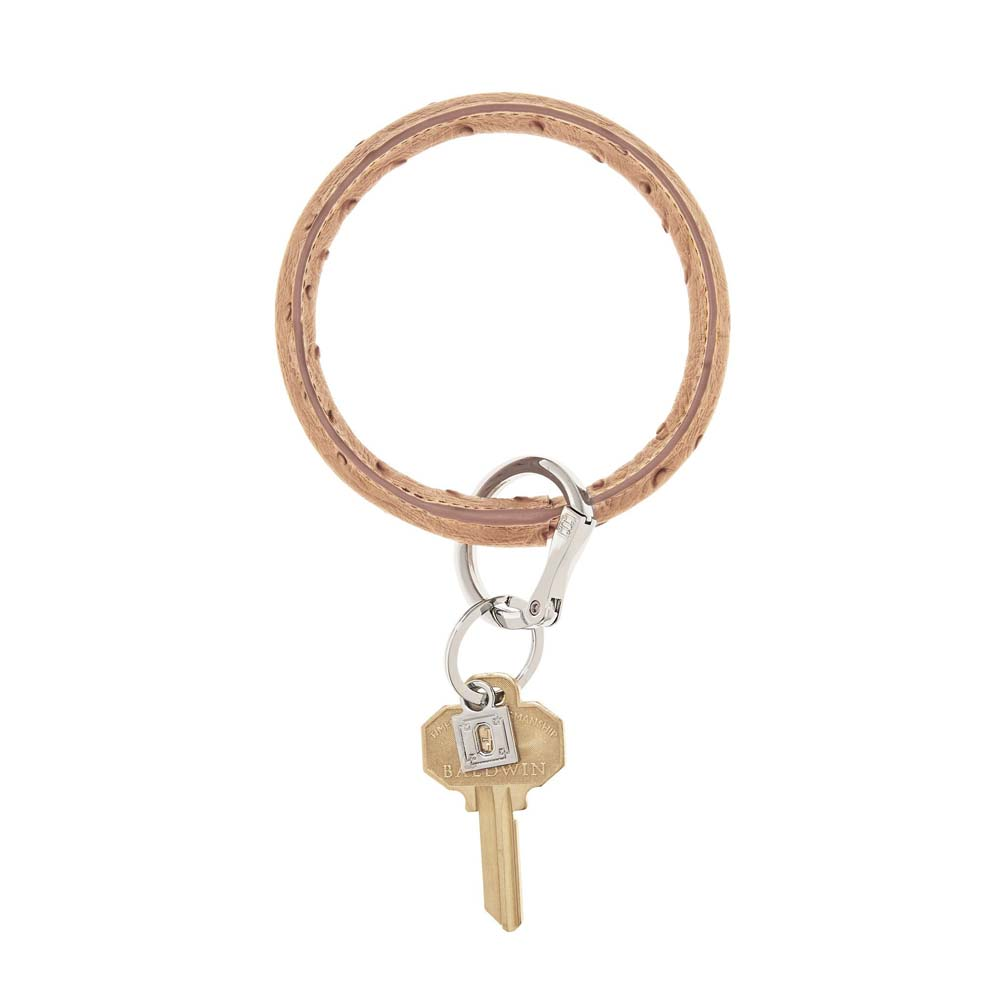 Mocha Ostrich Big O Key Ring