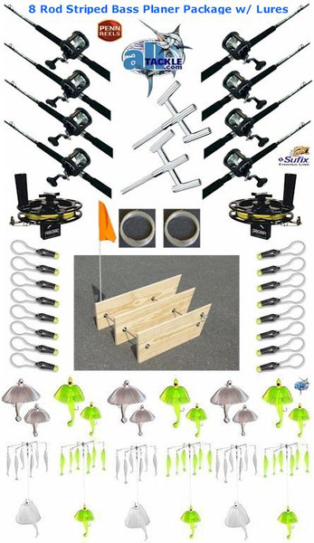 Alltackle Striped Bass Planer Board 8 Rod Package W Lure Kit