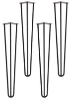 "Hairpin Dining Table Leg 28"" 3 Rod (Black) (Set of 4)"
