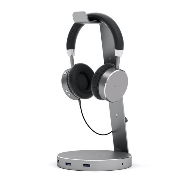 Satechi Aluminium USB 3.0 Headphone Stand - Space Grey (ST-AHSHU3M)