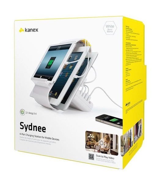 KANEX Sydnee 4-Port Charging Station for Mobile Devices - White (SYDNEE-AU) **CLEARANCE
