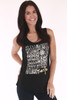 """Front shows black """"I Love Santo """" sleeveless shirt with printed image of multiple words in white."""