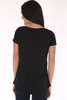 Black shirt, image of a stair off, v cut and short sleeve
