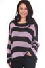 Marshmallow Oversized Striped Knit Sweater