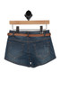Back shows dark blue denim jean shorts with brown belt and two  pockets.
