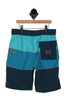 back shows teal, blue and navy horizontal striped swim trunks with right velcro back pocket.