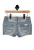 back shows blue denim shorts with 2 back pockets