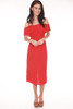 Front shows bright red spaghetti strap mini dress with cinched front and off shoulder ruffled top mini dress.