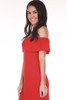 Side shows bright red off shoulder ruffled sleeved mini dress.