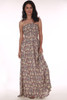 Front shows Mauve flower patterned smock strapless maxi dress.