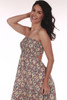 Side shows Mauve flower patterned smock strapless maxi dress with open back.