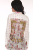 Back shows sheer white button up blouse  with checker pattern down sleeves and multi floral design.