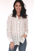 Front shows sheer white button up blouse  with checker pattern.