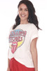 """Side shows white """"Rolling Stones"""" graphic design tee with tongue out.  Shown worn with red pants and sandals."""