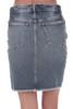 Back show light blue denim jean skirt with pockets. Mid thigh length.