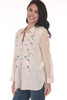 Front side shows light rose Gold Rush Button Up Blouse with pink and green floral patterns on front sides. See-through long sleeves.