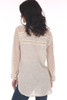 Back shows light rose Gold Rush Blouse with see-through long sleeves.