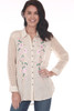 Front shows light rose Gold Rush Button Up Blouse with pink and green floral patterns  on front sides. See-through long sleeves.