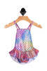 Front shows Muli-colored mermaid designed one-piece bathing suit with spaghetti straps and ruffled skirt.