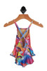 Back shows Bright and colorful outer space one-piece spaghetti strap bathing suit with criss-cross at back. Designed with unicorns, rainbows, and peace signs with ruffled bottom half.